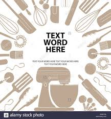 Word Background Template Poster Design For Cooking Or Baking In Simple Style With Space For