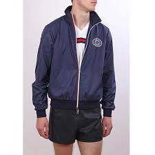 gucci zip up. gucci navy polyester zip up jacket e