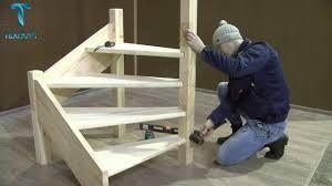 Сборка и монтаж <b>деревянной лестницы ЛЕС</b> 07 поворот 90 ...