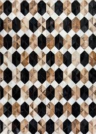 sapphire by mosaic rugs luxury handcrafted black brown white patchwork cowhide rug modern geometric pattern design