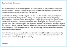 Recommendation Letter For Scholarship Gallery - Letter Format Formal ...