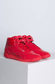 reebok high tops womens. side view reebok classic hi-top patent sneaker in red high tops womens