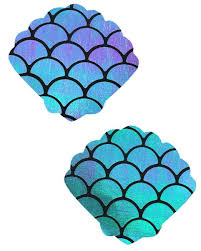 Mermaid Pattern Beauteous Holographic BlueGreen Mermaid Scale Pattern Shell Pasties Rave