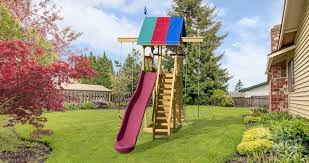 swing sets for small spaces astonish happy space kid s wooden swingsets playsets yards home design