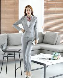 suits office. Spring Fall Grey Blazer Women Business Suits Formal Office Work Wear Uniforms Ladies Pant And Jackets Set OL Style-in From Women\u0027s