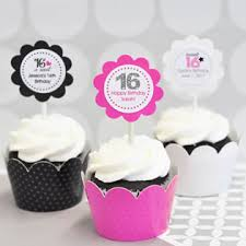 Sweet Sixteen Cupcake Wrappers Cupcake Toppers Bakery Favors