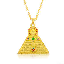 fashion gold plating enameled ankh cross pyramid medallion pyramid egyptian jewelry male necklace pendant necklace gold plating pendant necklace pyramid