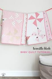 free baby quilt patterns including this one for a simple baby quilt made using a turnstile