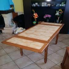 Table Jardin Carrelee Table De Cuisine A Rallonge En Bois Et