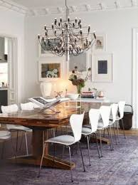farmhouse table with navy modern chairs - Google Search