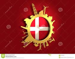 Denmark Industrial Design Circle With Industry Relative Silhouettes Denmark Flag