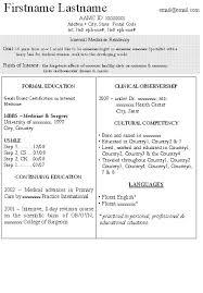 cv examples medical   fillin resume
