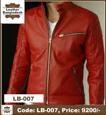 red color smart look genuine leather jacket