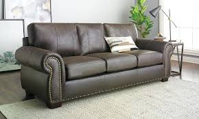 0 leather nailhead sectional brown