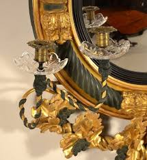 antique painted and gilded regency girandole mirror
