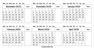 April 2020 Template 6 Month November 2019 To April 2020 Calendar Template Free