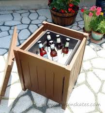 outdoor beverage table with cooler container gardening outdoor furniture painted furniture woodworking