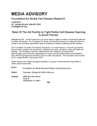 Media Advisory Ribbon Cutting Press Release Foundation For Sickle Cell Disease