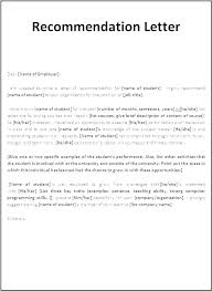 Letter Of Recommendation For Student Template Thepostcode Co