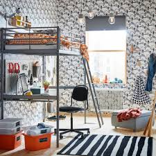 Image Blue Ikea SvÄrta Silver Steel Loftbed Comes With Sturdy Desk On The Bottom Bunk Perfect Ikea Childrens Furniture Ideas Ikea