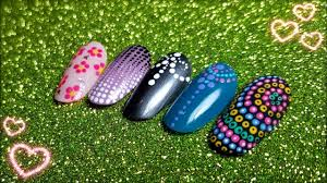 5 Nail Art Using Only Dotting Tool!!! Easy Tutorial - ENG SUB ...