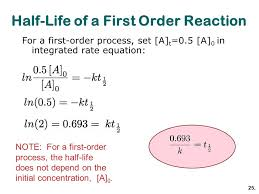 half life of a first order reaction