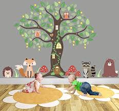 enchanted forest nursery wall stickers woodland animal wall decal owl tree mural fox on forest animal nursery wall art with enchanted forest nursery wall stickers woodland animal wall decal