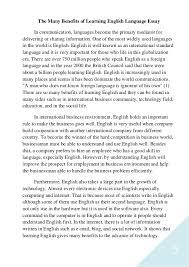 benefits of english language essay the many benefits of learning english english language essay