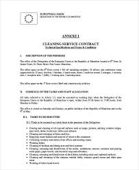 Cleaning Contract Templates Sample Office Cleaning Contracts 6 Cleaning Contract Template Free