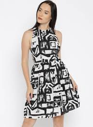 Jealous 21 Off White Printed Fit Flare Dress