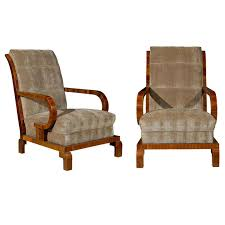 Art deco period furniture Medieval French Pair Of 1930s Art Deco Period Hungarian Club Chairs 1stdibs Pair Of 1930s Art Deco Period Hungarian Club Chairs With Brown
