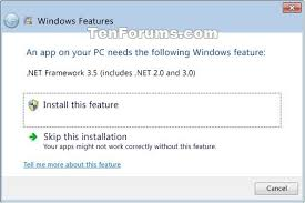install net framework 3 5 in windows