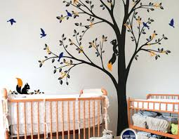 tree wall decals nursery full corner tree squirrel bird flower wall decals nursery kids full corner