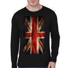 Uk Flag Black Full Sleeve Tee