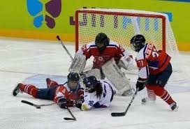 north mi left fights for the puck with south during their ice hockey world championship division