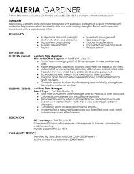 Retail Resume Example Issue Concept Assistant Store Manager