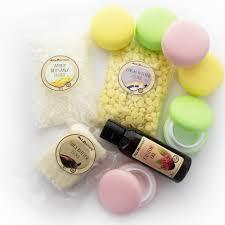 diy lip balm kit with macaron jar yellow pink green