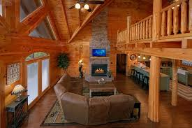 Log Cabin Living Room Extraordinary Smoky Mountain Cabin Sleeps 48 Guests Cabins USA Gatlinburg