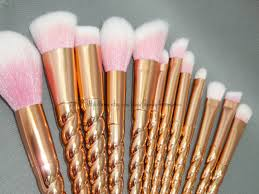 rose gold unicorn makeup brushes. toiletry bag kit 12pc rose gold unicorn foundation make up brush set p makeup brushes b