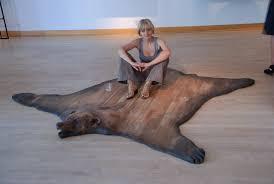 fake bear rug with head