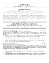 Elementary School Teacher Resume Sample Education Resumes Intended