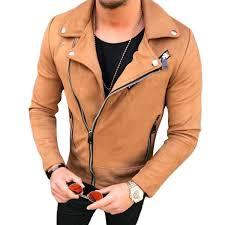 men hip hop coat streetwear 2018 er suede leather jacket coat lapel zipper slim biker motocycle