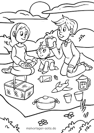 Kleurplaat Familie Maakt Picknick Gratis Kleurpaginas Om Te