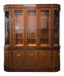 HICKORY MANUFACTURING 'Raffles' Yew Wood China Display Cabinet | Chairish