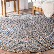 nuloom handmade braided natural fiber jute and denim round rug 6 within rugs design 4