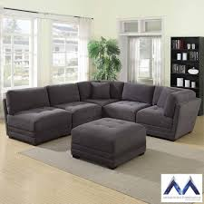 fabric sectional sofas. Mstar International 6 Piece Modular Grey Fabric Sectional Sofa Sofas