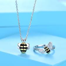 blue sweet honey bee ring and necklace set gold black ble bee pendant in sterling silver cubic zirconia cute bee ring fashion valentine s day gift