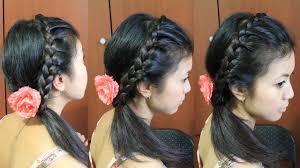 Headband Hair Style lace braid headband hairstyle for medium long hair tutorial youtube 5593 by wearticles.com