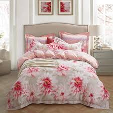 2018 pink blossom flowers bedlinens winter thick duvet cover set sanding cotton queen king size bedding set pillowcases blue bedding black bedding from
