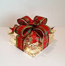 Glass Present Box Lights Light Up Glass Block Present For Decoration With Red Green